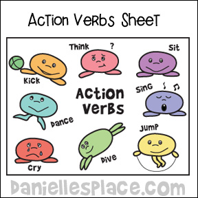 Action Verbs Coloring Activity Sheet