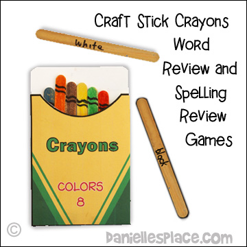 Craft Stick Crayons Word Review and Spelling Games