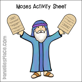 Moses Holding The Ten Commandments Coloring And Activity Sheet From Daniellesplace