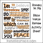 Romanaz 14:19 - Seek Peace Bible Verse Review Sheet