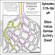 Roote and Established in Love! Bible Verse Activity Sheet