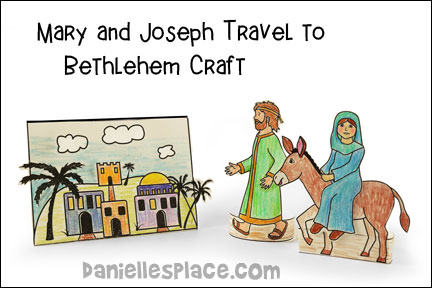 Joseph and Mary Travel to Bethlehem Bible Craft for Kids