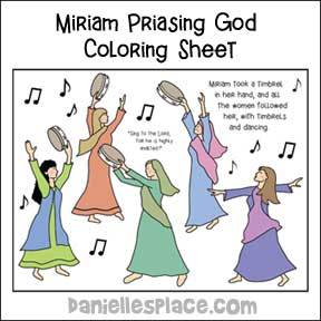 Miriam and the women praise God with Tambourine and dancing.