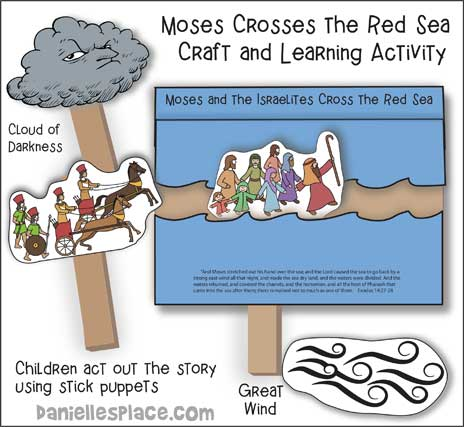 Moses Crossing the Red Sea Stick Puppet Craft and Learning Activity
