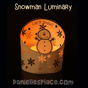 """Let it snow!"" Snowman Luminary Craft"