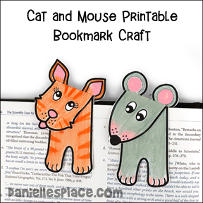 Cat and Mouse Printable Bookmark Craft For Kids