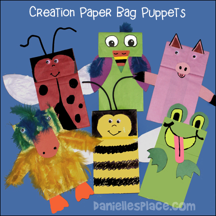 Creation Paper Bag Puppets Craft for Sunday School