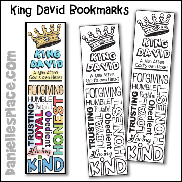 King David - A man after God's Own Heart Bible Bookmarks to Color