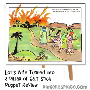 Lot's Wife Looks Back Stick Puppet Bible Lesson Review Activity