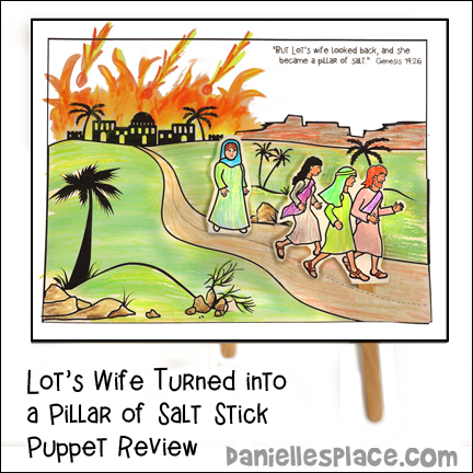 Lot's Family Stick Puppets to Review Sodom and Gomorrah Bible Lesson from www.daniellesplace.com