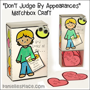 """Don't Judge by Appearances"" Bible Verse Matchbox Craft"
