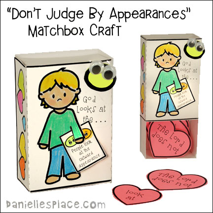 Don't Judge by Appearances Matchbox Bible Verse Review Craft for Children from www.daniellesplace.com
