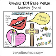 Roman 10:9 Bible Verse Review and Activity Sheet