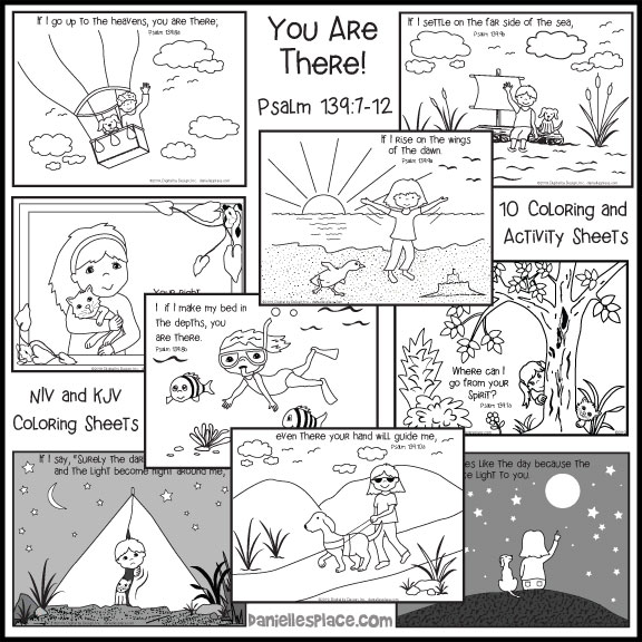Psalm 139 Bible verse Coloring sheets in both KJV and NIV for children and Sunday school. Full-sheet pictures that go along with the Bible verse.  These will help children remember the verse.