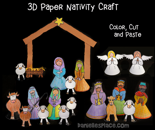 Christmas Nativity Craft - 3D Printable Paper Craft for Kids to make
