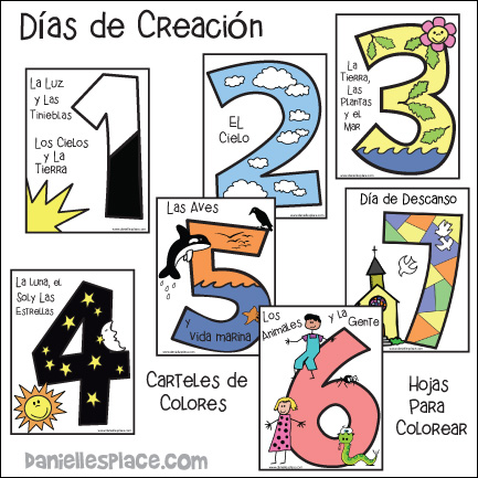 Spanish Days of Creation Coloring Sheets and Posters
