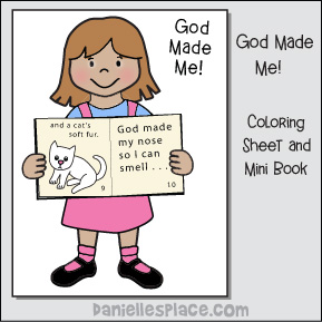 God Made Me Girl Coloring Sheet with Mini Book Craft for Kids