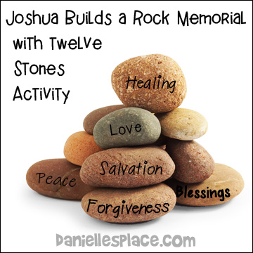 Joshua Rock Memorial Bible Review Activity for Story of Joshua crossing the Jordan River