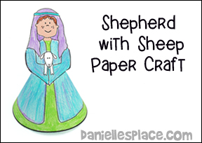 Shepherd with Sheep Paper Craft