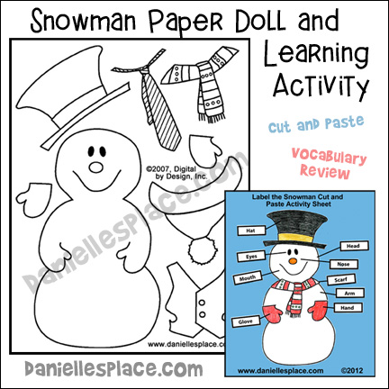 Snowman Paper Doll Activity Sheet - Label the Snowman Vocabulary Review