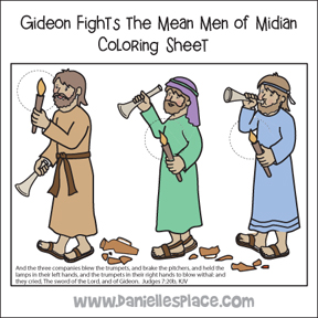 Gideon Fights the Mean Men of Midian Coloring Sheet