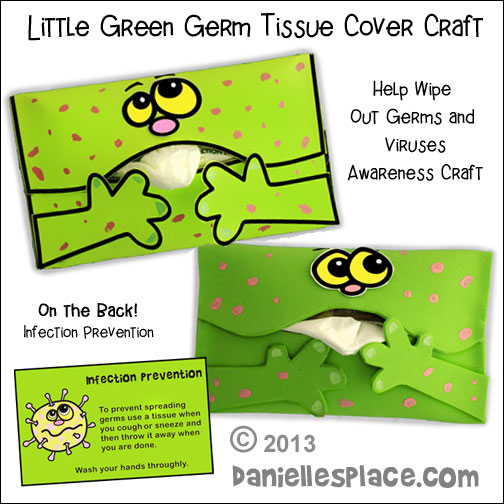 Stamp out Covid-19 - Don't Spread Germs- Little Green Germ Tissue Cover Craft for Kids from www.daniellesplace.com - Infection Prevention