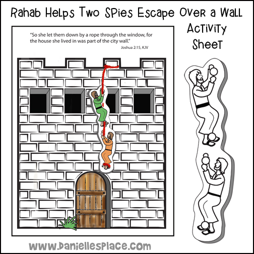 Rahab Helps the Spies Escape Over the Wall of Jericho Activity Sheet
