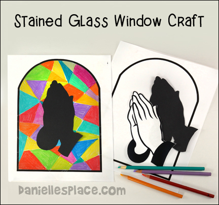 Stained Glass Windo Praying Hands Craft Picture Bible Craft
