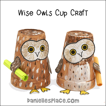 Wise Paper Cup Owls Holding A Bible Verse Craft for Sunday School