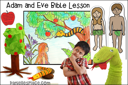 Adam and Even Bible Lesson for Children including crafts, games, songs and Bible Verse Memory Games