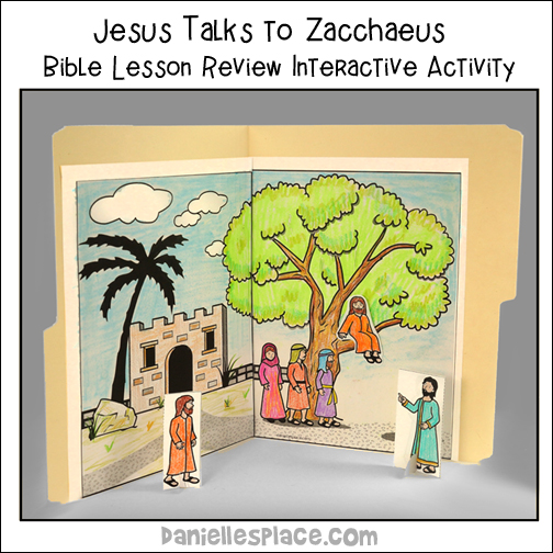 """Jesus Talke to Zacchaeus"" Interactive Bible File Folder Bible Lesson Review"