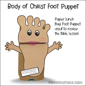 Body of Christ Foot Paper Bag Puppet for Children's Ministry