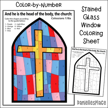 Color-by-Number Corss Stained Glass Window Activity Sheet