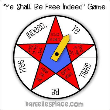 """Ye Shall Be Free Indeed"" Bible Verse Review Spinner Game"