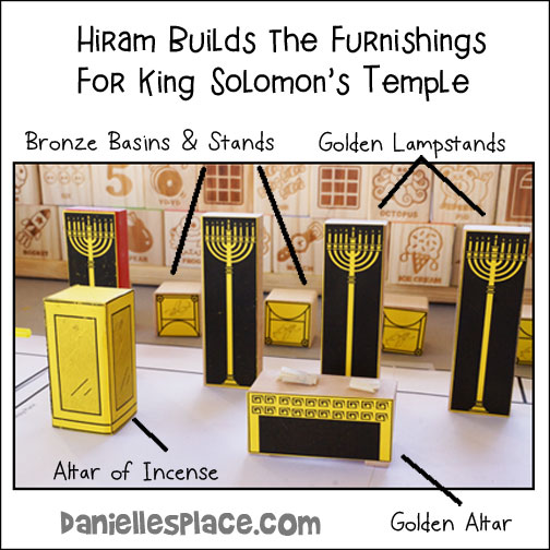 Hiram Builds the Furnishings for King Solomon's Temple - Bronze Basins and Stands, Golden Lampstands, Altar or Incense and the Goldern Altar