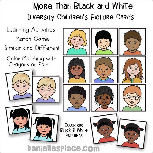 More Than Black And White Diversity Children's Picture Cards Learning Activities from www.daniellesplace.com