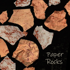 Paper Rocks made from crinkled paper and crayon rubbings