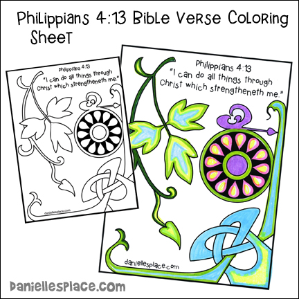 Philippians 4:13 Bible Verse Coloring Sheet for Children's Ministry