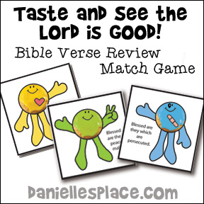 Taste and See that the Lord is Good Bible Verse Review Game for Children's Ministry for Beatitudes Sunday School lesson from www.daniellesplace.com
