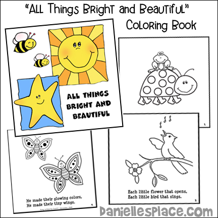 All Things Bright and Beautiful Coloring Book for Children's Ministry for The Creation Lesson