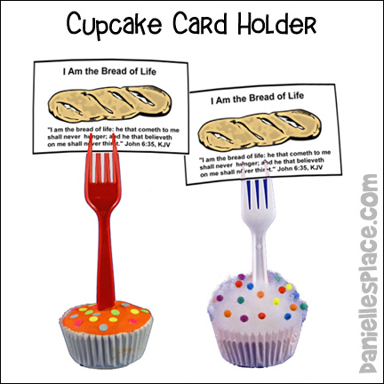 Bread of Life Cup Cake Holder Craft made with a cupcake wrapper and plastic fork