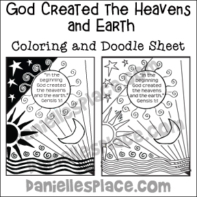 God Created the Heavens and Earth Coloring and Doodle Sheet