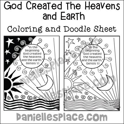 "God Created the Heavens and Earth"" Coloring and Doodle Sheets"