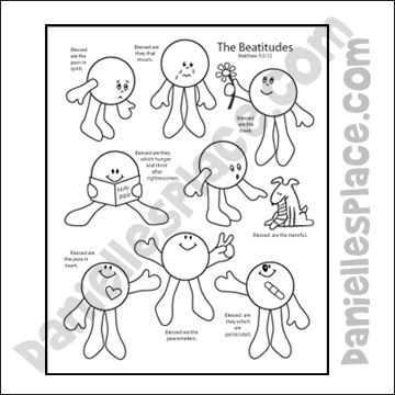 Beatitudes - Recipe for Happiness, Coloring Sheet