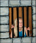 Jail made from a box for Paul and Silas Sunday School Lesson www.daniellesplace.com