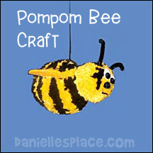 Pompom Bee craft for kids from www.daniellesplace.com