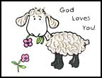God Loves You Macroni sheep Bible  craft for kids