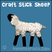 Craft stick and Yarn Sheep Craft from www.daniellesplace.com